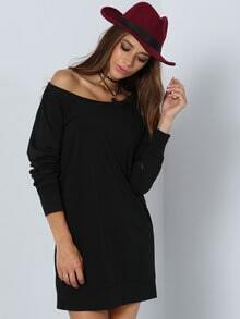 Black Charcoal Boat Neck Long Sleeve Bodycon Dress