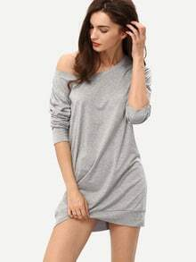 Grey Tees Knittet Boat Neck Long Sleeve Bodycon Dress