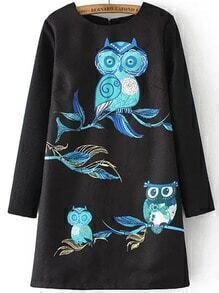 Black Round Neck Owl Embroidered Loose Dress