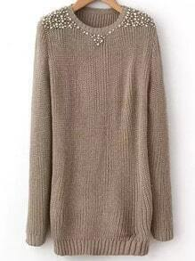 Khaki Round Neck Long Sleeve Bead Sweater