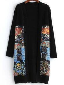 Multicolor Long Sleeve Floral Knit Cardigan