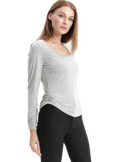 Grey Round Neck Long Sleeve Crop T-Shirt