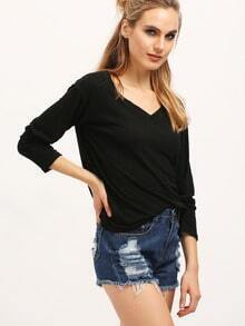 Black V Neck Vintage Loose T-Shirt