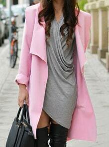 Pink Lapel Long Sleeve Pockets Coat