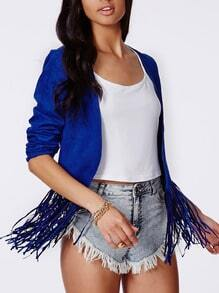 Blue Long Sleeve Tassel Crop Coat
