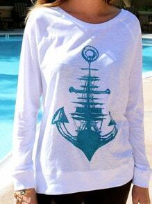 White Round Neck Anchors Patterned Print Loose Sweatshirt