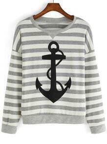 Grey White Striped Anchor Patterned Print Sweatshirt