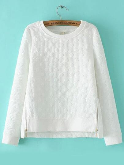 White Round Neck Polka Dot Zipper Sweatshirt