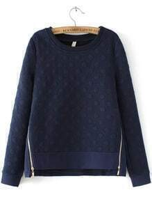 Navy Round Neck Polka Dot Zipper Sweatshirt