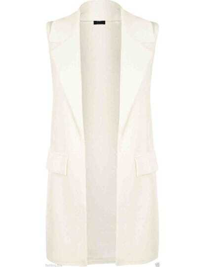 White Lapel Sleeveless Casual Blazer
