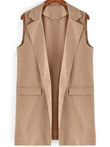 Khaki Lapel Sleeveless Casual Blazer