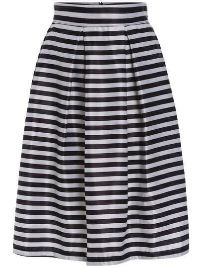 Black White High Waist Striped Flare Skirt