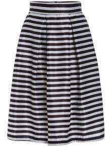 Black White High Waist Striped Flare Skirt