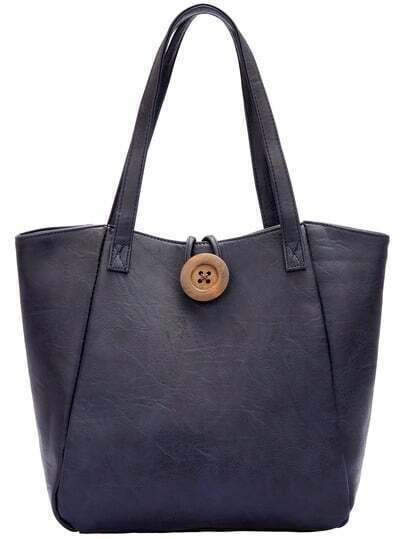 Blue Button PU Tote Bag