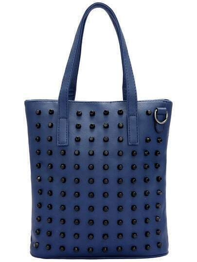 Blue Bead PU Tote Bag
