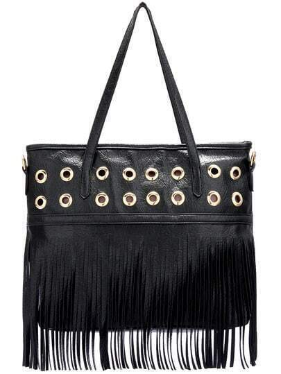 Black Metal Embellished Tassel Shoulder Bag