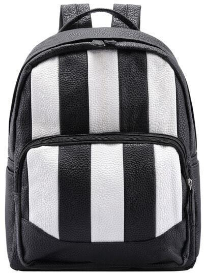 Black White Vertical Stripe PU Backpack