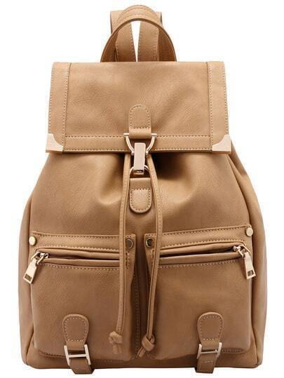 Khaki Buckle Metal Embellished Backpack