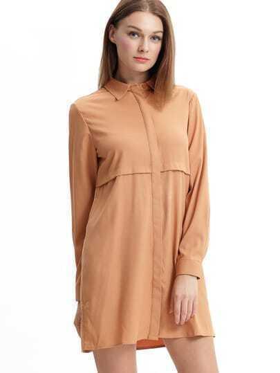 Khaki Bronze Mocha Lapel Loose Casual Shirt Dress