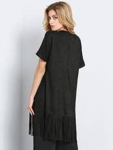 Black Short Sleeve Tassel Loose Coat