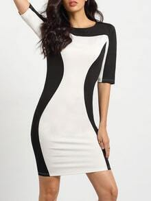 White Suiting Half Sleeve Careers Design Color Block Dress
