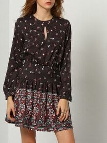 Black Challis Long Sleeve Vintage Design Print Retro Dress