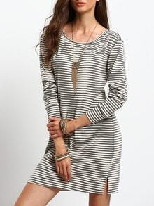 White Grey Tees Long Sleeve Designs Striped Dress