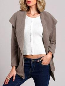Grey Long Sleeve Lapel Coat