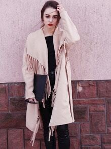 Khaki Long Sleeve Lapel Tassel Coat