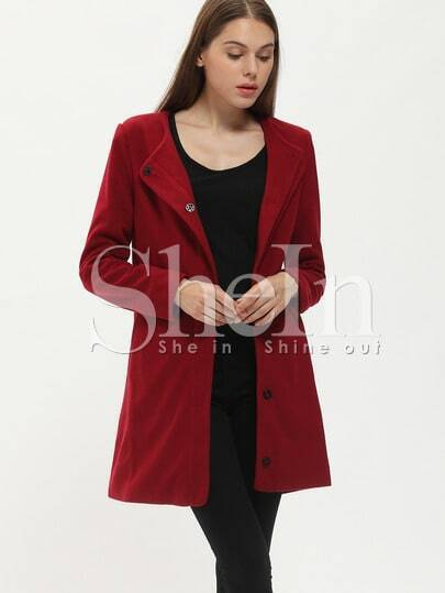 Wine Red Long Sleeve Pockets Coat pictures