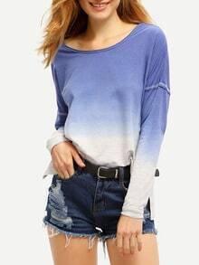 Blue Round Neck Color Block T-Shirt