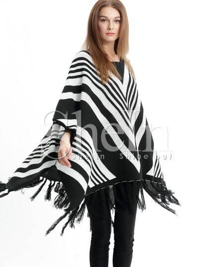 Maglia con maniche a pipistrello nera & bianca immagini