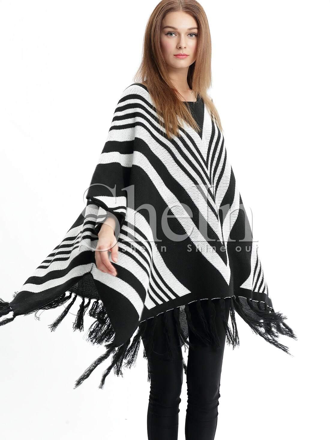Black White Batwing Sleeve Tassel Sweater
