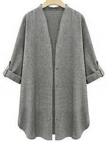 Grey Casual Long Sleeve Loose Coat