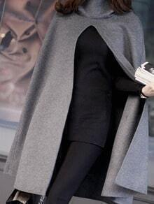 Grey Casual Hooded Cloak Coat