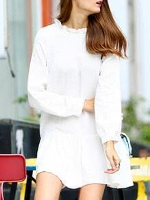 Whites Ruffle Collar Long Sleeve Loose Dress