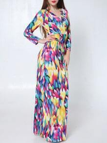Multicolor V Neck Tie-waist Camo Watercolor Maxi Dress