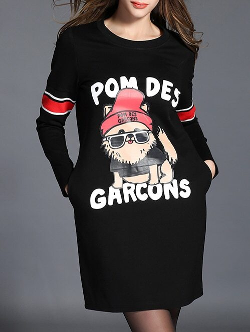 Black Round Neck Cartoon Dog Animals Print Dress