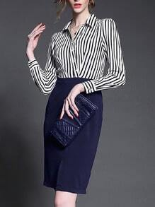 Blue Buisness Workplace Lapel Vertical Stripe Slim Dress