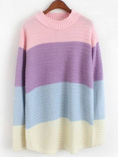 Colour-block Long Sleeve Striped Knit Sweater