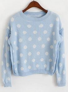 Blue Round Neck Polka Dot Crop Knit Sweater