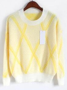Yellow Round Neck Diamond Print Knit Sweater