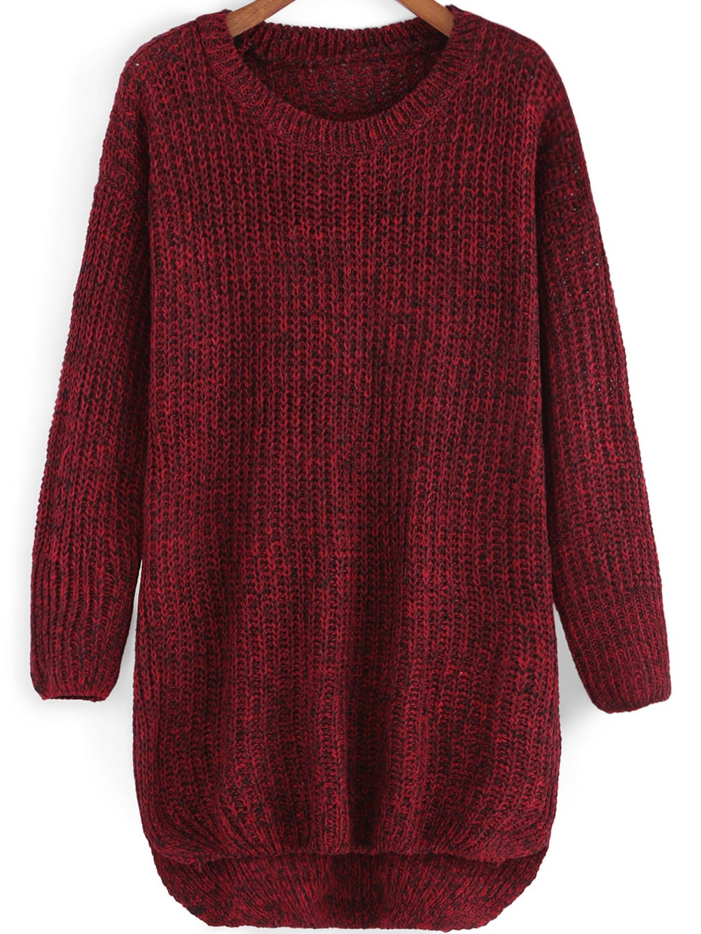 Round Neck Dip Hem Knit Sweater