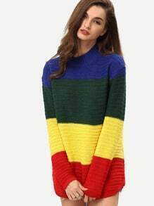 Color-block Long Sleeve Sweater