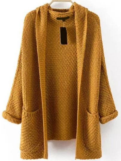 Strick-Mantel mit Taschen - khaki