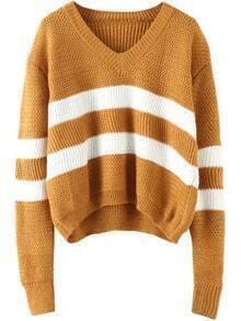 V Neck Striped Khaki Sweater