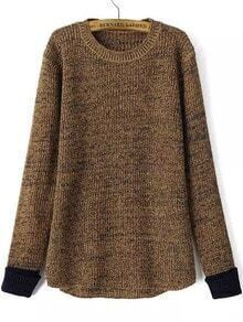 Contrast Cuff Dip Hem Coffee Sweater