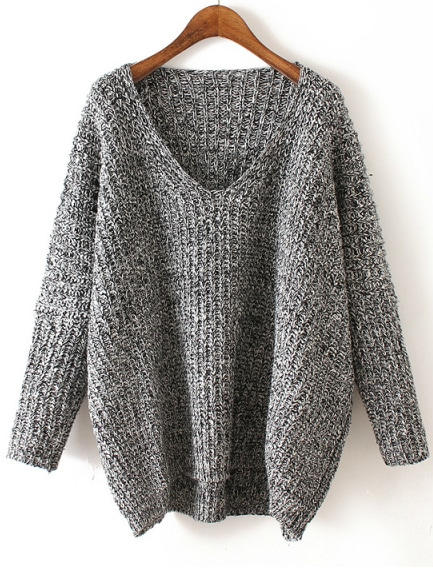 V Neck Chunky Knit Dark Grey Dolman Sweater -SheIn(Sheinside)
