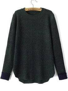 Contrast Cuff Dip Hem Green Sweater