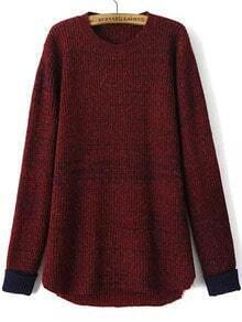 Contrast Cuff Dip Hem Wine Red Sweater